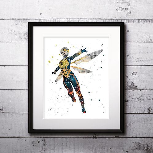 Superhero Wasp Marvel Art Prints Instant Download Printable Watercolor Art Painting Poster Home Decor Wall Art