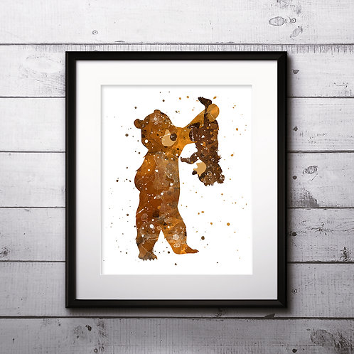 Brother Bear Disney Art Prints Instant Download Printable Watercolor Art Nursery Prints Painting Poster Home Decor Wall Art