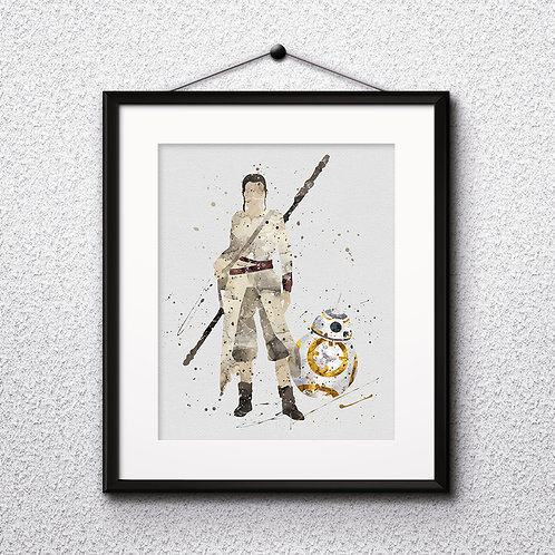 Star Wars Rey and BB8, Print, painting, poster, wall art decor, room decor