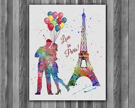 Love Paris watercolor, Love Paris Art Print, Love Paris art, Love Paris Print, Love Paris wall art, Love Paris poster Printab
