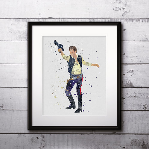 Star Wars Painting, Hans Solo - Art Print, instant download, Watercolor Print