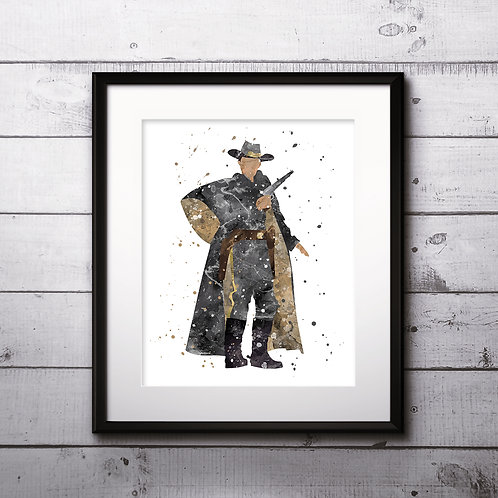 Jonah Hex Movie Art Print, Jonah Hex DC Comics Poster, Watercolor Print, Wall Art,