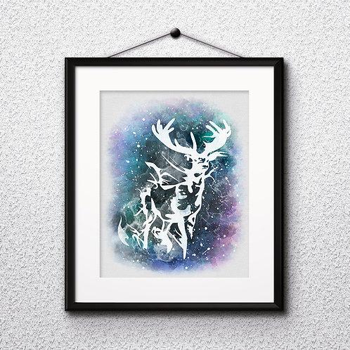 Stag Patronus Harry James Potter illustration watercolor, Art Print, instant download, Watercolor poster