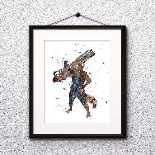 Rocket superhero wall art prints, printable image, poster, watercolor painting
