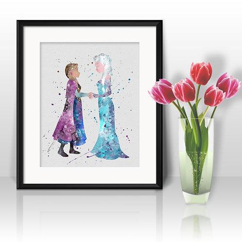 Elza and Anna Frozen Princess Disney Art, Frozen Poster, Frozen Painting, Frozen Art Print, Frozen Wall Art, Frozen Art