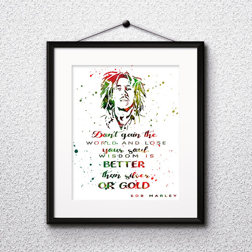 Bob Marley Quote Art Print, buy art, buy digital image, buy painting, buy wall art, buy poster, buy watercolor painting