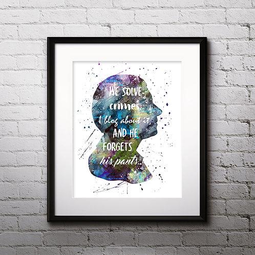 Sherlock Holmes art prints, printable image, wall art, watercolor painting