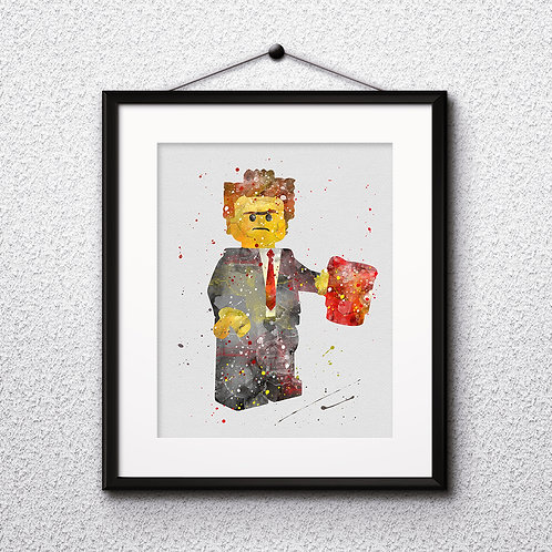 Lego President Business, Lego man, Lego minifigure Printable, LEGO model Painting, Art Print, instant download, Watercolor