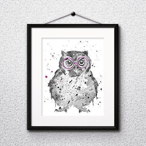 Owl With Glasses Printable Art Print, Animals with glasses art, buy digital image, бой painting, buy wall art, buy poster