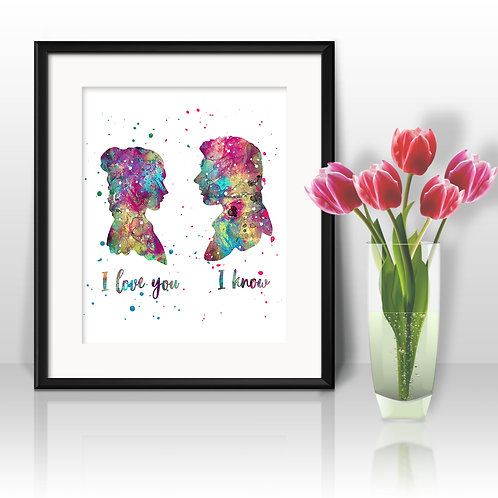 Han Solo and Leia Star Wars art Prints, Star Wars Posters, Star Wars watercolor, Star Wars wall art, Star Wars home decor