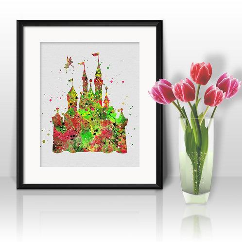 Disney Castle art Prints, Disney Castle Posters, Disney Castle watercolor, Disney Castle wall art, Disney Castle home decor