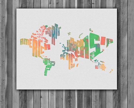 World Map Art, World Map Poster, World Map Painting, World Map print, World Map art print, World Map wall art decor, map art