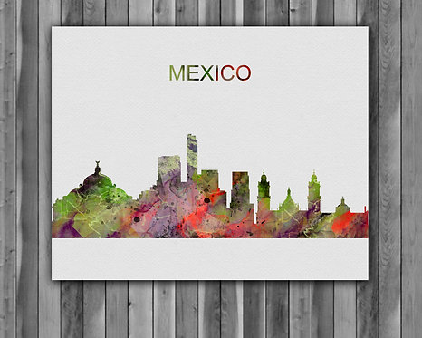 México Skylines Art, Skylines Art Print, Skylines Poster, Skylines Print, Skylines Wall Art, México art