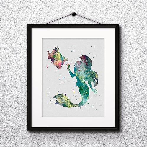 Ariel - The Little Mermaid Disney Art Prints Instant Download Printable Poster
