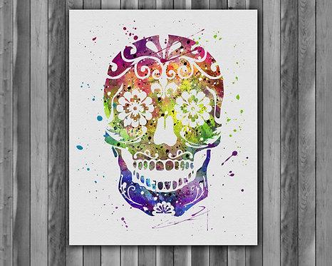 Sugar Mexican Skull art, Skull Poster, Skull Painting, Skull Art Print, Skull home decor, Skull Wall Art, Skull watercolor