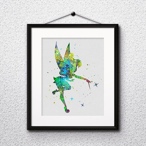 Disney Tinker Bell art Prints, Tinker Bell Posters, Tinker Bell watercolor, Tinker Bell wall art, Tinker Bell home decor