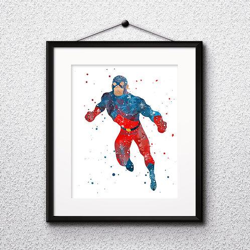 Superhero DC Atom Poster, Marvel Comics - Art Print, Watercolor Print, Wall Art, instant download
