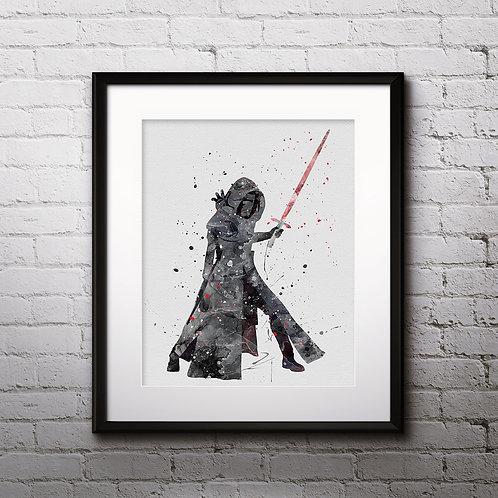 Star Wars The Force Awakens, Kylo Ren watercolor - Art Print, instant download, Watercolor Print