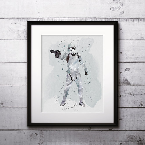 Stormtrooper Solo Star Wars, Buy Star Wars Painting, Buy Star Wars Art Print, Buy Star Wars Watercolor Print, Star Wars decor