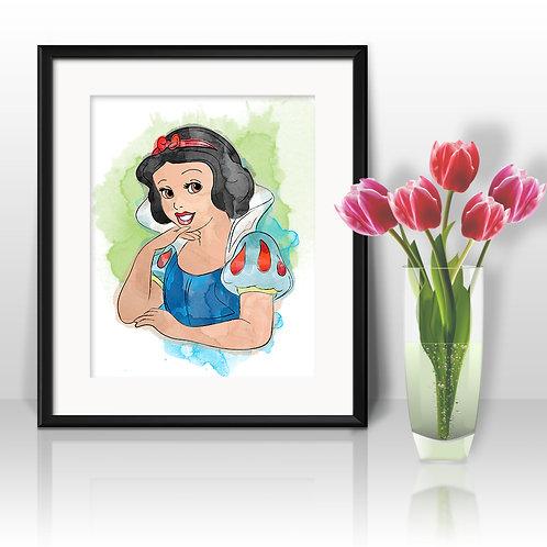 Snow White Disney art prints, printable image, wall art, watercolor painting