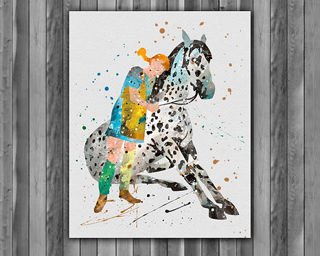 Peppy Long Stocking Print, Peppy Long Stocking Watercolor, Peppy Long Stocking illustration, Peppy Long Stocking Painting