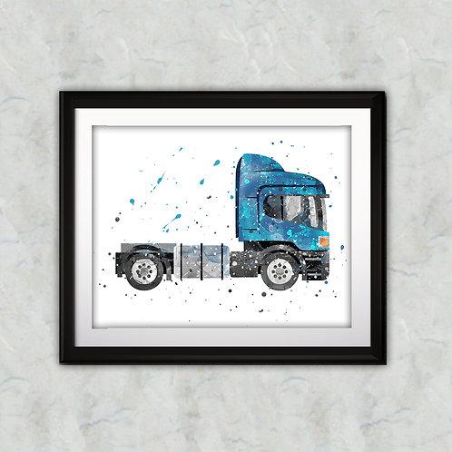 Semi Truck Print, Trucks Wall Art, Semi Trailer, Transportation Nursery, Truck Printable