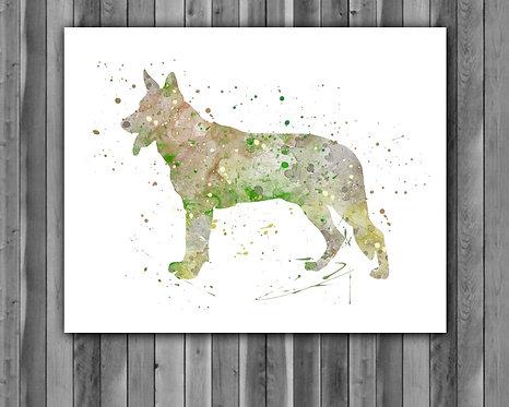 German Shepherd Dog art, Dog watercolor, Dog German Shepherd Art Print, Dog Print, Dog wall print, Dog poster Printable, Dog