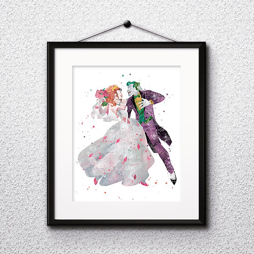 Harley Quinn and Joker Poster watercolor Painting Art Print home decor