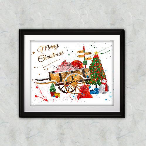 Christmas Art Printable, buy Art Print, buy digital image, buy watercolor, buy painting, buy wall art, buy poster