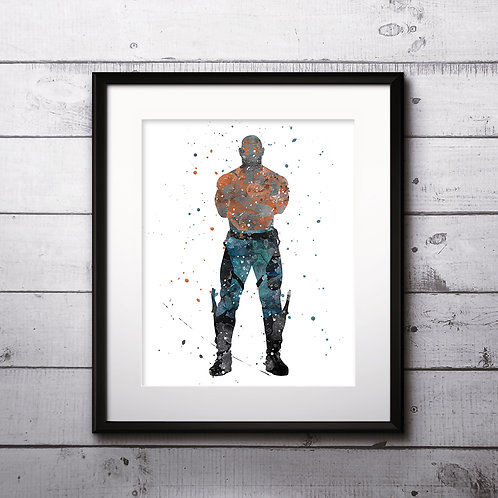 Drax Guardians of the Galaxy Art Print, Poster, Watercolor Print, Wall Art, Painting