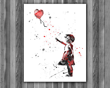 Banksy Girl art, Banksy Girl art print, Banksy Girl print, Banksy Girl poster, Banksy Girl wall art, Banksy Girl home decor