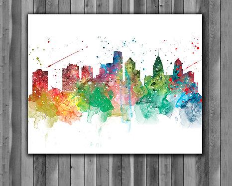 Philadelphia Skyline Art Prints Skylines Painting Skylines Poster Skylines Wall Art Skylines watercolor Skylines Home art