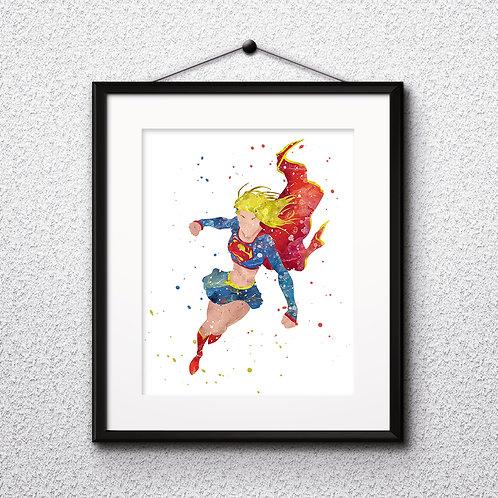 Superhero Supergirl Print Nursery, buy Poster, buy Watercolor Painting