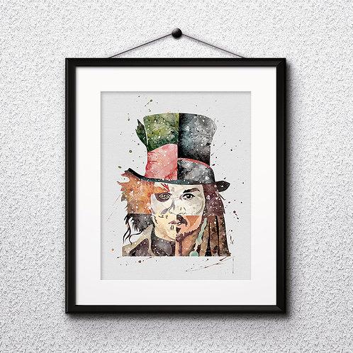 Johnny Depp Print - Painting, watercolor, Art Print, instant download, Watercolor poster