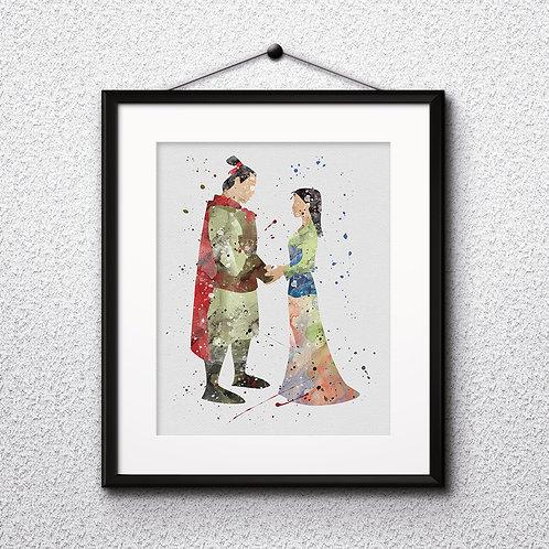 Disney Mulan Princess Art Print Printable Watercolor poster painting nursery