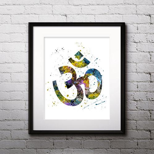 Om Sign Yoga Art Printable, buy Art Print, buy digital image, buy watercolor, buy painting, buy wall art, buy poster
