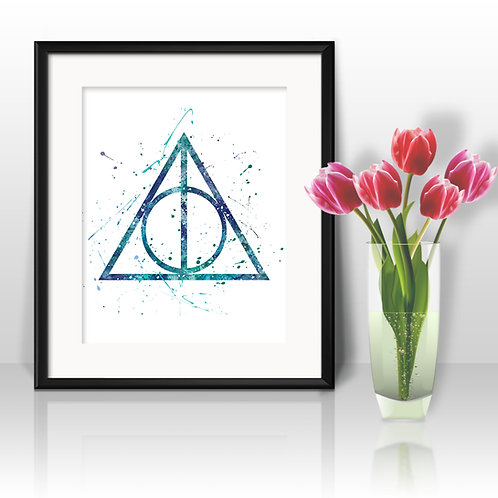 Harry Potter Poster - The Deathly Hallows watercolor, Art Print, instant download, Watercolor Print, poster
