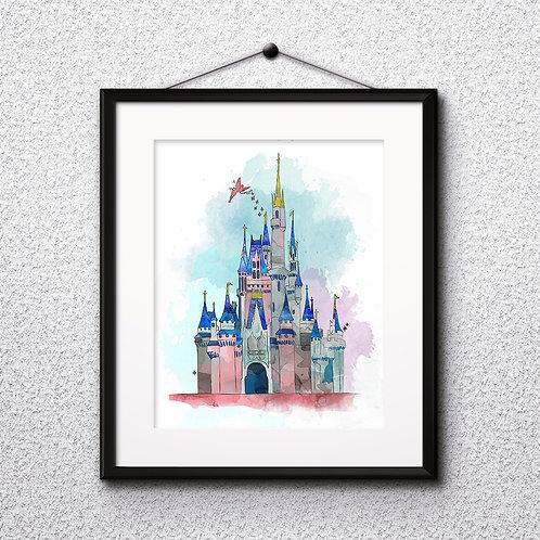 Cinderella Castle Disney art prints, printable image, wall art, watercolor painting