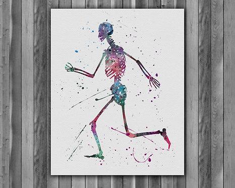 Skeleton poster, Skeleton wall art, Skeleton painting, Skeleton Print, Skeleton Art, Skeleton Art Print