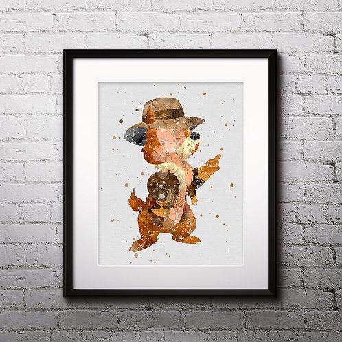Disney Chip 'n' Dale Monty art Prints, Chip Posters, Chip watercolor, Chip wall art, Chip home decor, Chip Art