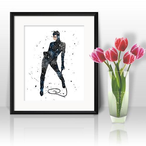 Cat Woman Art Print, Catwoman movie Comics Poster, Watercolor Print, Wall Art