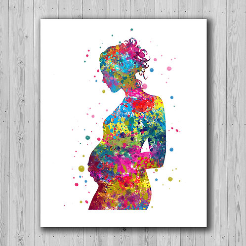 Pregnant Woman Art, Watercolor, Print, Poster, Printable, Painting, wall art, home decor,  picture
