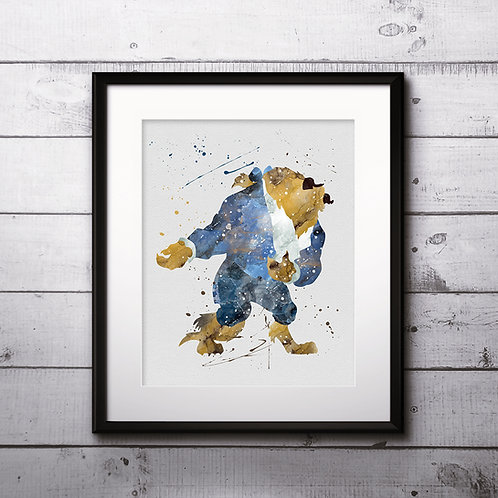 Disney Beast - Beauty and the Beast Print Printable Watercolor poster painting