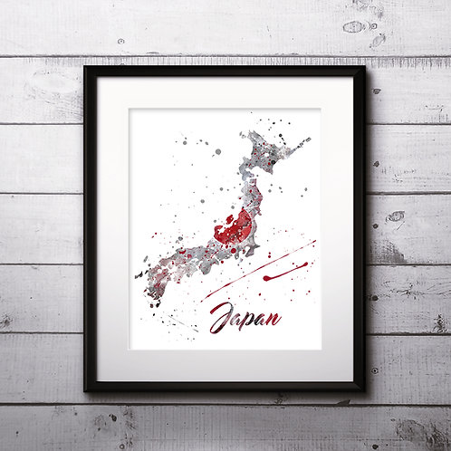 Japan map Art, Japan Poster, Japan Painting, Japan map Art Print, Japan Wall Art, Japan Watercolor art
