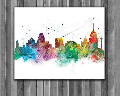 San-Antonio Skyline Art Prints Skylines Painting Skylines Poster Skylines Wall Art Skylines watercolor Skylines Home art