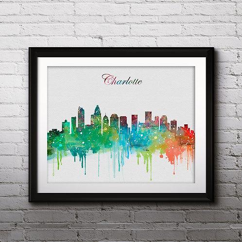 Charlotte USA Skylines Art , Skylines Art Print, Skylines Poster, Skylines watercolor, Skylines Wall Art, USA art
