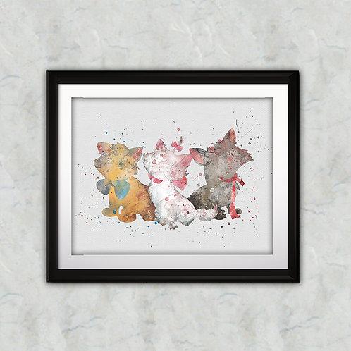 The Aristocats Disney art, Disney Poster, Disney Painting, Disney Art Print, Disney home decor, Disney Decor, Disney wall art