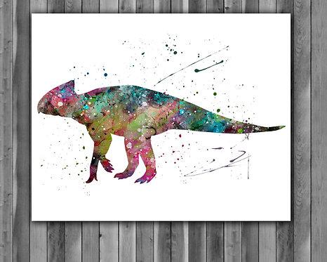 Archaeoceratops Dinosaur Watercolor Print, watercolor painting, watercolor art, home decor, watercolor animal, Dinosaur art