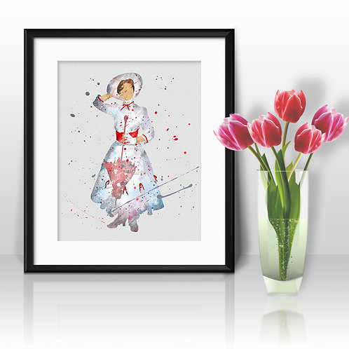 Mary Poppins Disney art, Disney Poster, Disney Painting, Disney Art Print, Disney home decor, Disney Decor, Disney wall art