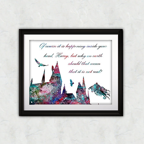 Quote from Harry Potter Poster - Hogwarts watercolor, Art Print, instant download, Watercolor Print, poster